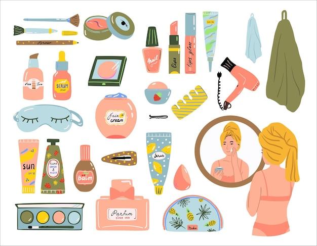 Huidverzorging schoonheidsschoonheidsmiddelen die met vrouw worden geplaatst