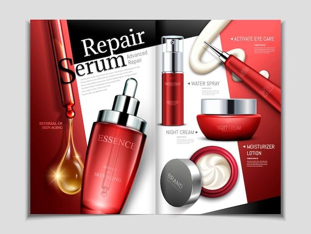 Huidverzorging tijdschrift sjabloon, reparatie serie cosmetische set in 3d illustratie in rode toon