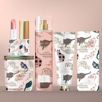 Huidverzorgings- en schoonheidsset met geurkaars met schroefdop, lippenstift, bodymist-sprayfles en handcrème tube.