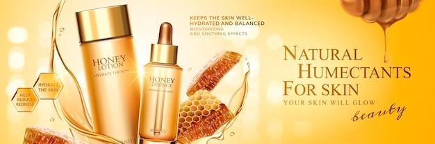 Huidverzorgingsbanner met natuurlijke honing