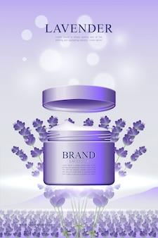 Huidverzorgingscrème poster in lavendelomgeving