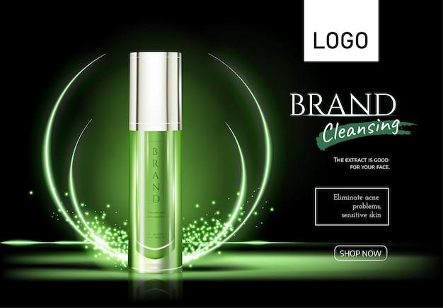 Huidverzorgingsflessen geïsoleerd op donkergroene achtergrond en lichtgroen effect premium advertenties voor web