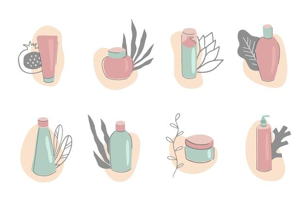 Huidverzorgingsproducten collectie set van verschillende buizen en flessen