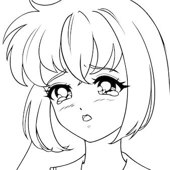 Huilend animemeisje met tranen in haar ogen.