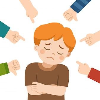 Huilend en andere op haar richtende jongen die en kinderen lachen. pesten op school. een jongen in schaamte en handen met wijzende vinger. slachtoffer kind.