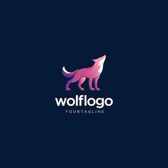Huilend wolf logo-ontwerp met eenvoudige en moderne stijl premium vector
