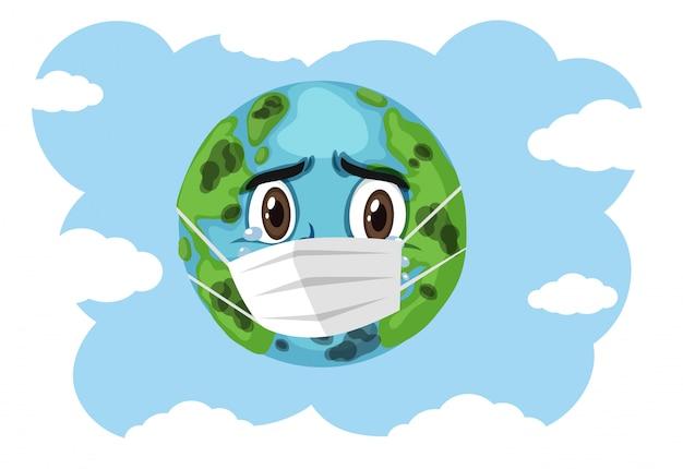Huilende aarde die masker op blauwe hemel draagt