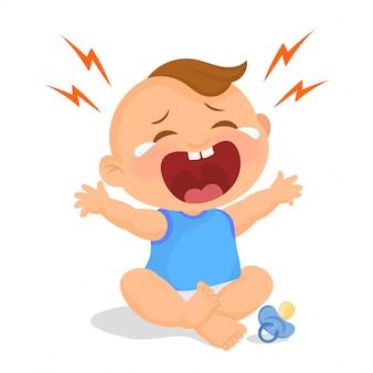 Huilende babyjongen met fopspeen