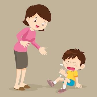 Huilende jongen en haar moeder