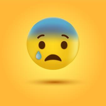 Huilende trieste emoticon of emoji-gezicht met traan
