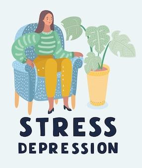Huilende vrouw in depressie of stress zit op stoel