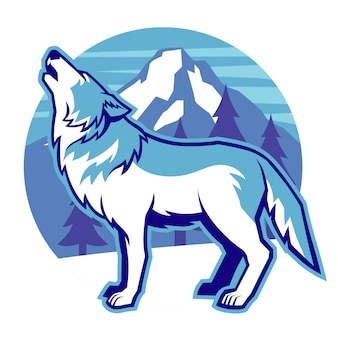 Huilende wolfsmascotte