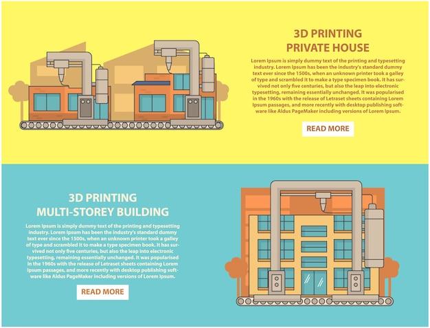 Huis 3d-printen concept horizontale banner set