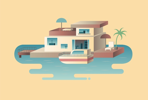 Huis aan het water met jacht. zeeboot, architectuur bouwen in de oceaan,