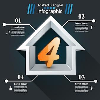 Huis abstracte 3d pictogram