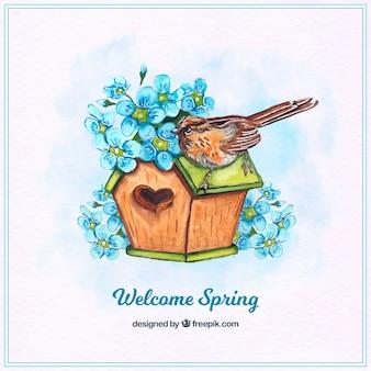 Huis achtergrond met een vogel en blauwe bloemen