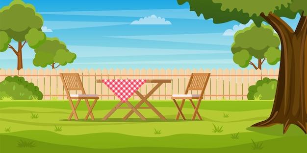 Huis achtertuin met groen gras gazon