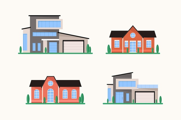 Huis architectuur ontwerpset