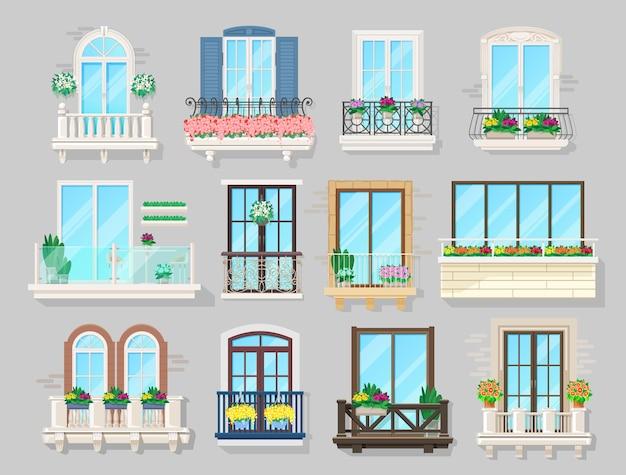 Huis balkon, gevel interieur
