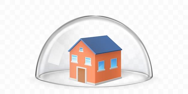 Huis bedekt met glazen koepel realistische vector