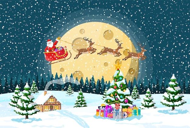 Huis behandelde sneeuw in de voorsteden. vakantie ornament inbouwen. kerstlandschap boom, santa slee rendieren. nieuwe jaardecoratie. merry christmas holiday xmas feest.