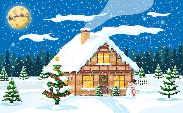 Huis behandelde sneeuw in de voorsteden. vakantie ornament inbouwen. kerstlandschap boom, sneeuwpop, santa slee rendieren. nieuwjaarsdecoratie. merry christmas holiday xmas feest. illustratie
