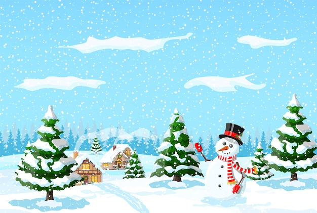 Huis behandelde sneeuw in de voorsteden. vakantie ornament inbouwen. kerstlandschap boom sparren, sneeuwpop. gelukkig nieuwjaar decoratie. vrolijk kerstfeest. nieuwjaar kerstviering. illustratie