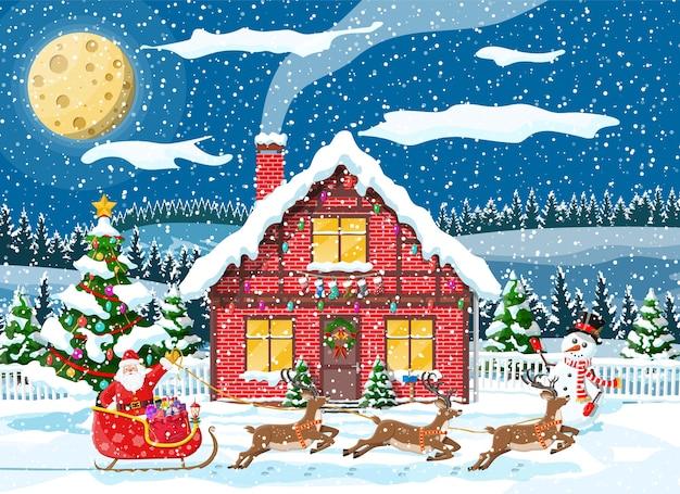 Huis behandelde sneeuw in de voorsteden