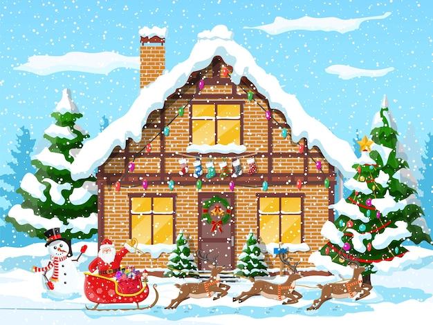 Huis behandelde sneeuw in de voorsteden Premium Vector