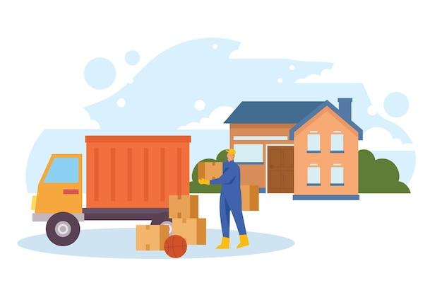 Huis bewegende concept illustratie