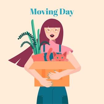 Huis bewegende concept vrouw met doos