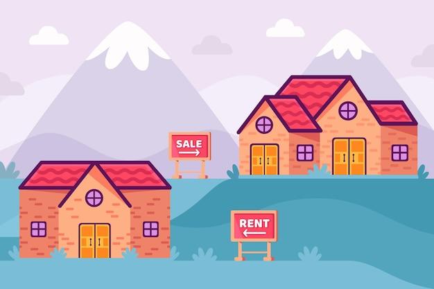 Huis bij bergen verkoop en huur concept