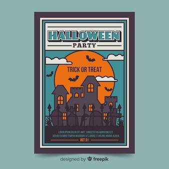 Huis bij zonsondergang halloween party folder sjabloon
