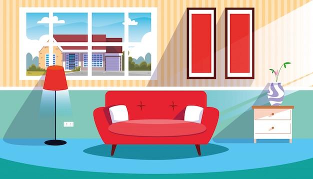 Huis binnen scène met bank en decoratie