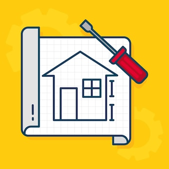 Huis blauwdruk en schroevendraaier tool