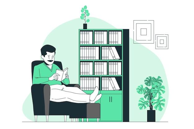 Huis boekenkasten concept illustratie