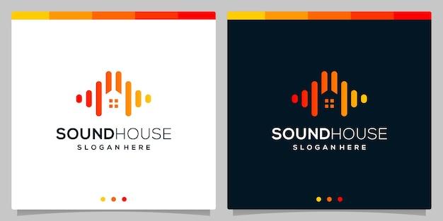 Huis bouwen negatieve ruimte logo met geluid audio golf logo concept elementen. premium vector