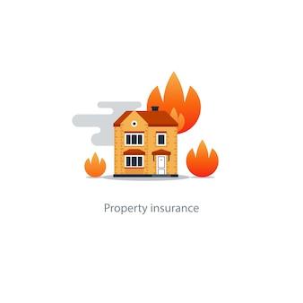 Huis brand verzekering pictogram illustratie