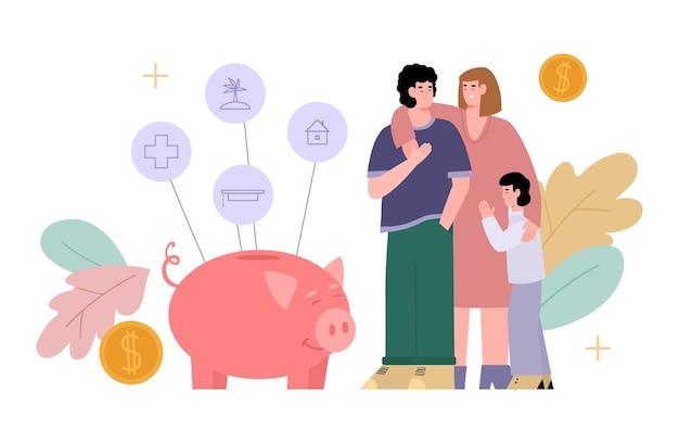Huis budget en familie spaarvarken concept cartoon afbeelding