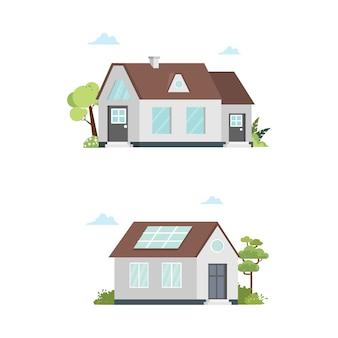 Huis buitenkant home architect illustratie gebouw instellen
