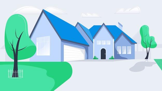 Huis buitenste achtergrond vectorillustratie
