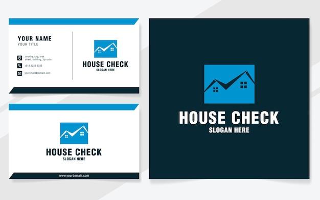 Huis check logo sjabloon op moderne stijl