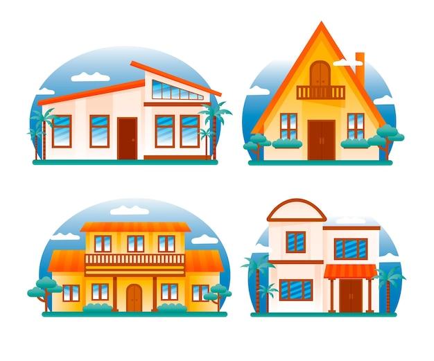 Huis collectie illustratie concept