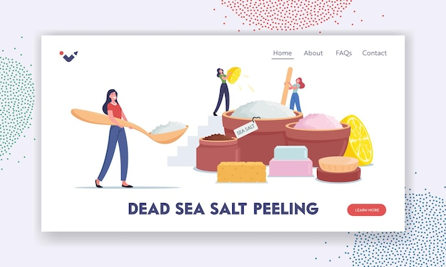 Huis cosmetica bestemmingspagina sjabloon. kleine vrouwelijke personages die schoonheidsproducten maken van dode zeezout, citroensap en aromaolie voor het aanbrengen van peelingmassage of scrub. cartoon mensen vectorillustratie