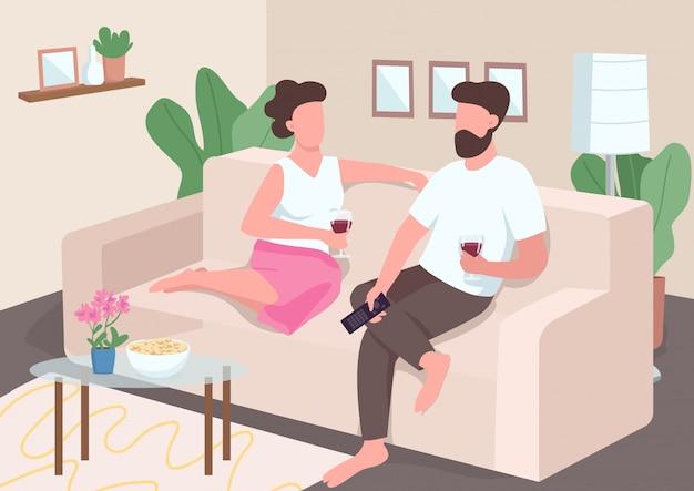 Huis datum egale kleur illustratie. vriend en vriendin kijken tv. het paar drinkt wijnzitting op laag. romantische partners 2d stripfiguren met interieur op achtergrond