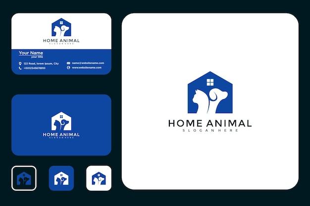 Huis dier logo ontwerp en visitekaartje