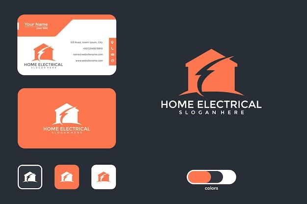 Huis elektrisch logo ontwerp en visitekaartje