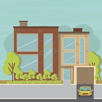 Huis en appartement op de achtergrond van de natuur