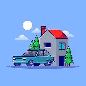 Huis en auto cartoon