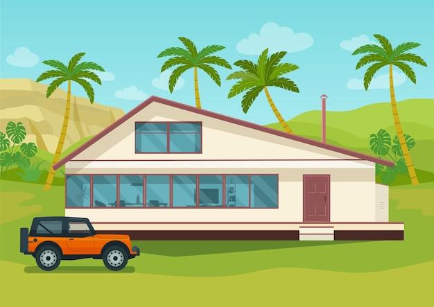Huis en auto met tropisch landschap met palmbomen en bergen